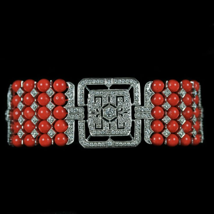 Coral and Diamond Bracelet. Accompanied by approximately 4.20 carats of Diamonds...