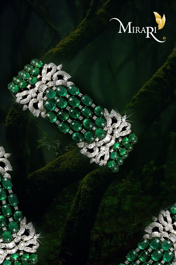 Create a statement wherever you go with this emerald and diamond bracelet from #...