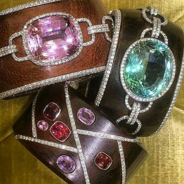 #CUFFGASM alert! Striking #lauramunder #Amaranth wood and gemstone cuffs, in #Ku...