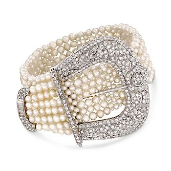 Diamond and Cultured Pearl Buckle Bracelet In 18kt White Gold....