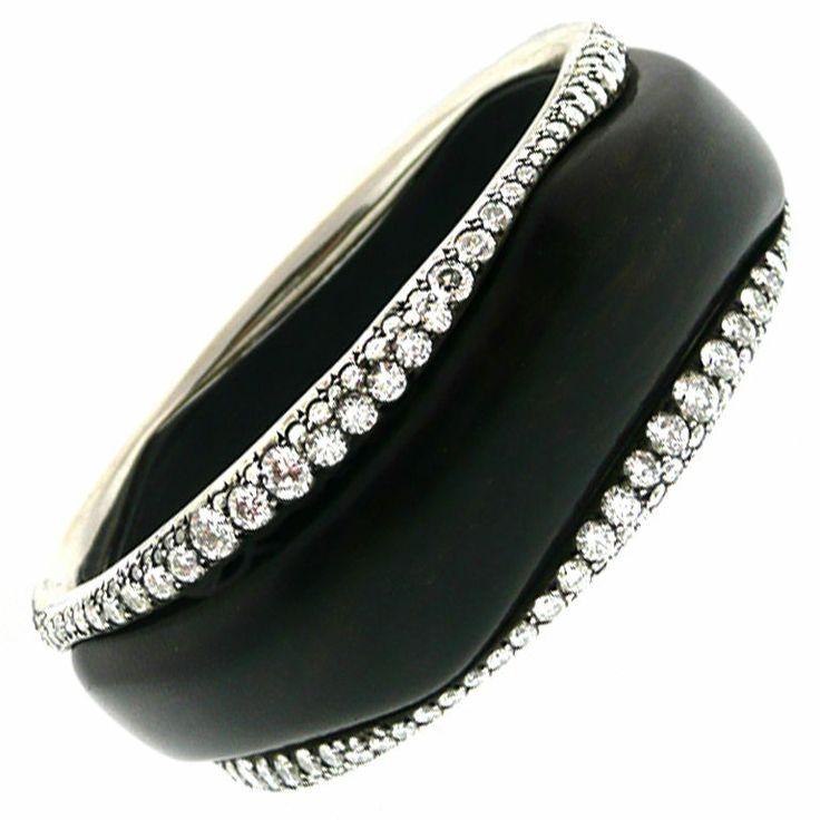 Ebony and Diamond Bangle | 1stdibs.com