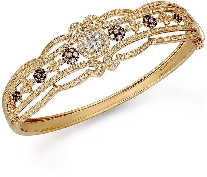 Espresso by EFFY Brown and White Diamond Bangle in 14k Gold (2 ct. t.w.)