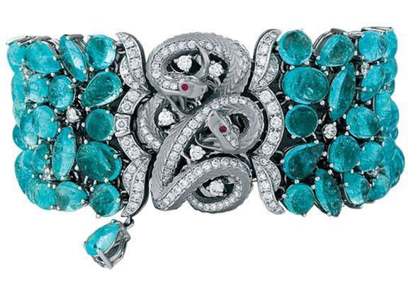 Magerit bracelet with Paraiba tourmalines, rubies and white diamonds