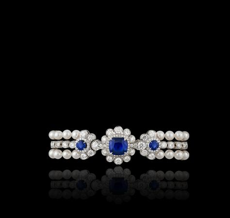 Marguerite sapphire, Akoya pearl and white diamond bracelet. Created in 18ct whi...