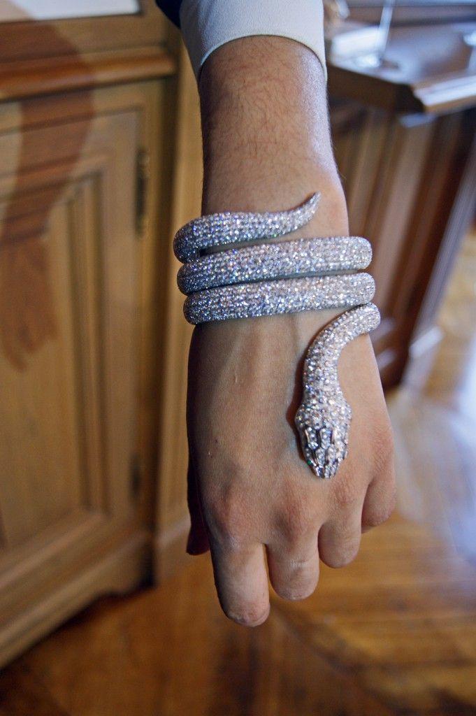 Miss M's Girls Trip to Greece. Modern Goddess: Boucheron Diamond Snake Brace...