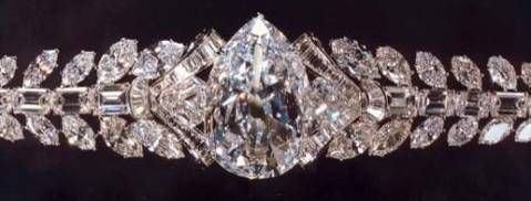Mouawad has set the pear-shaped Excelsior I in an elaborate bracelet, which is s...
