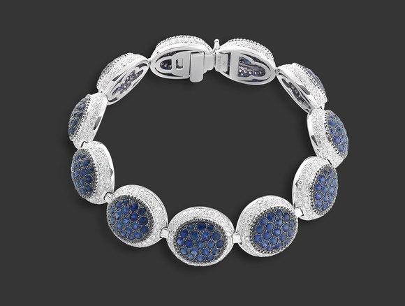 Mouawad - Rosette Blue Sapphire, Diamond, 18k White Gold Bracelet...