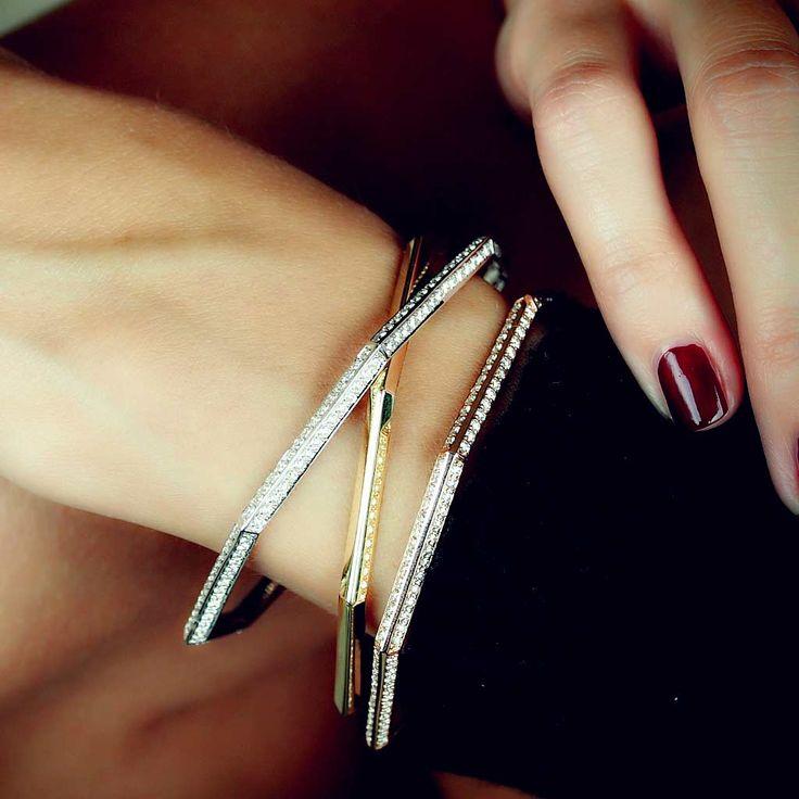 """Octagon"" Pave Diamond Bangle Bracelet (White), $6,400..."