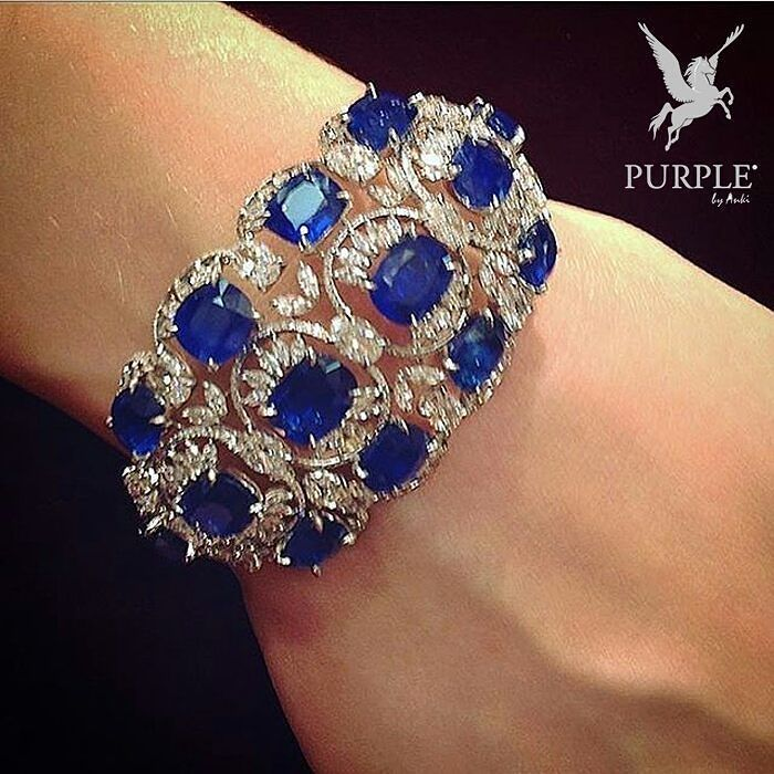 Perfectly BLUED! This Sapphire and diamond cuff by Chopard will satisfy even the...