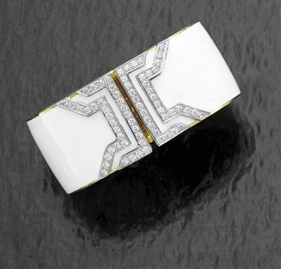 PHILLIPS : CH060208, David Webb, An Enamel and Diamond Cuff