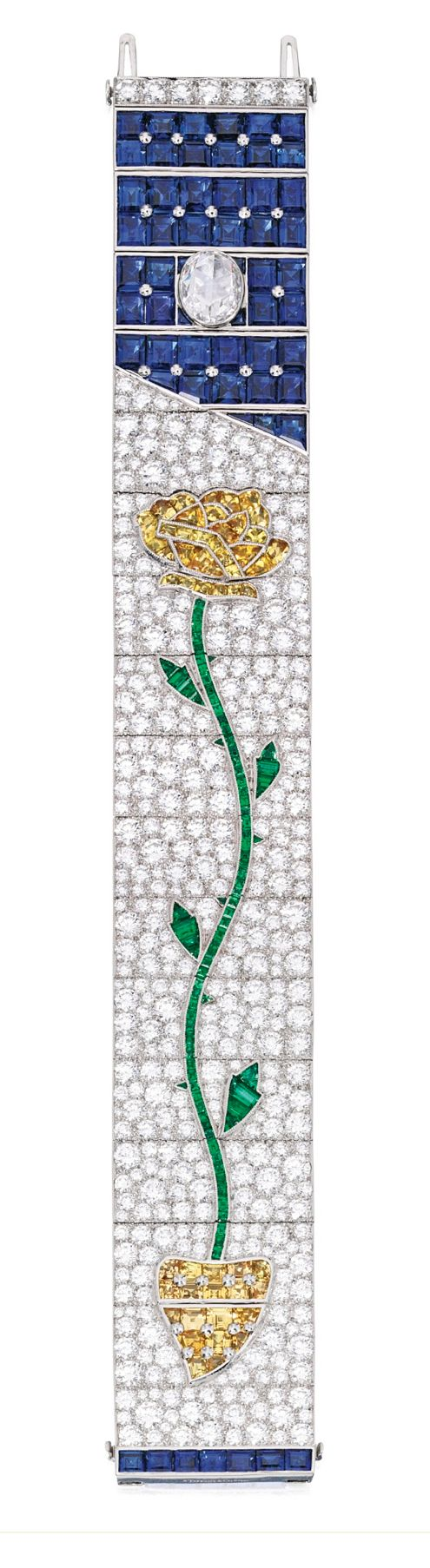 PLATINUM, DIAMOND AND COLORED STONE 'ROSE' BRACELET, TIFFANY & CO....