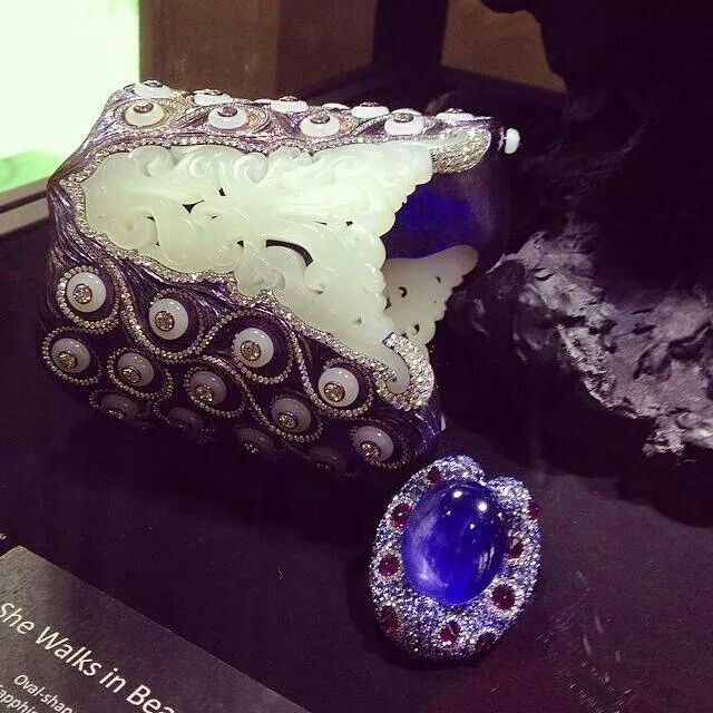 repost from Jill Newman Wallace Chan jade and sapphire cuff Robb Report