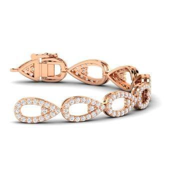 Round SI Diamond Bracelet in 14k Rose Gold