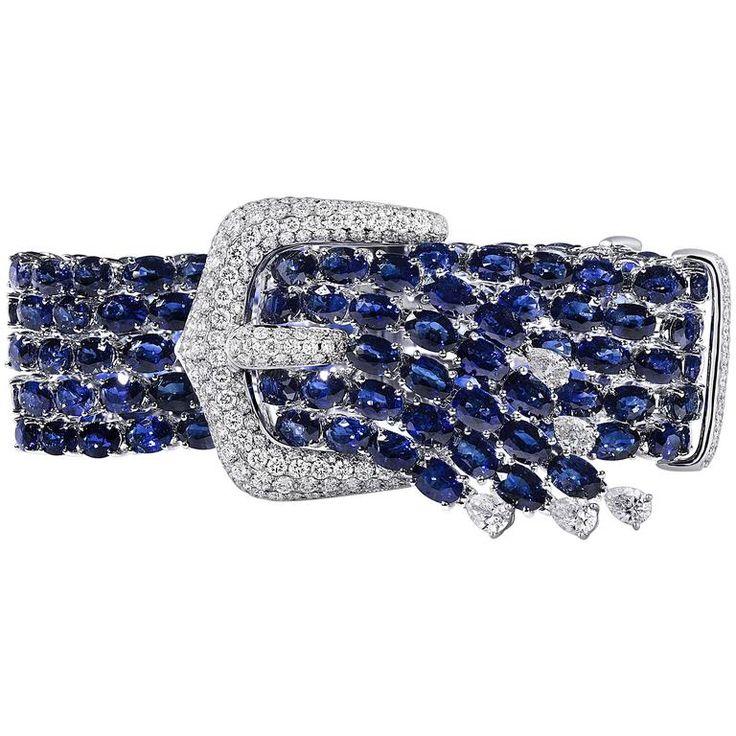 Sapphire Diamond Gold Buckle Bracelet...