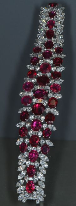 This ruby and diamond bracelet contains 31 matched Burmese rubies with a total o...