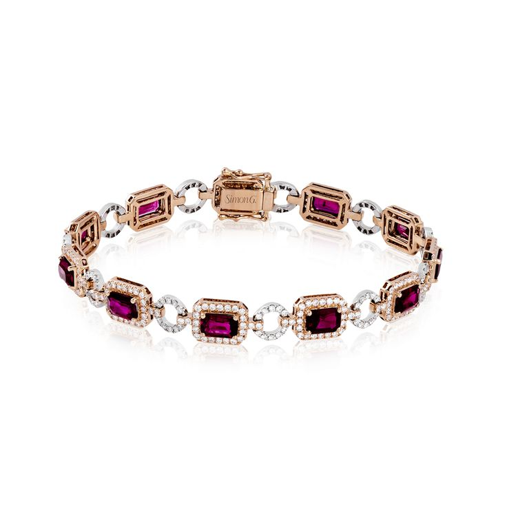This superbly gorgeous bracelet crafted from 18k rose and white gold contains 5....
