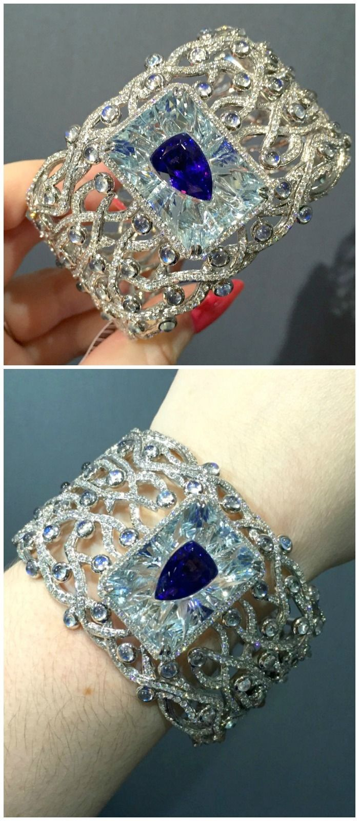 This Yael Designs bangle features a 7 carat tanzanite invisibly set inside a 26 ...
