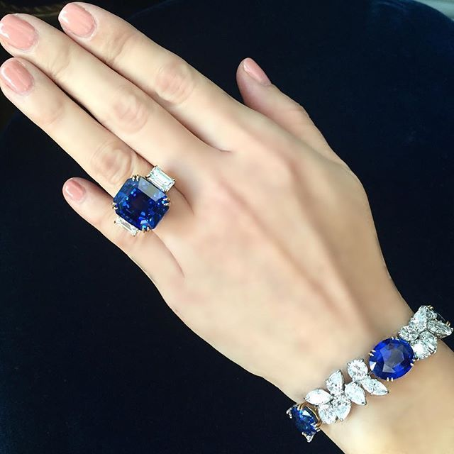 Timeless bracelet by Harry Winston and a Burma sapphire ring....