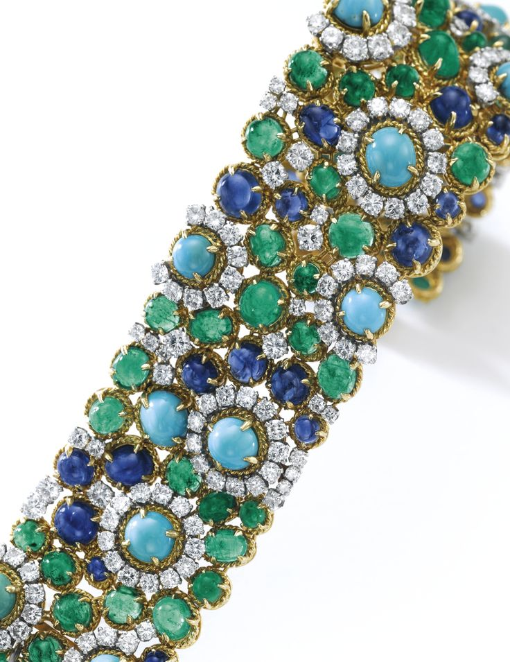 Turquoise, sapphire, emerald and diamond bracelet, Van Cleef & Arpels, 1960s...