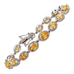 Vivid Fancy Orrange Yellow Diamond Gold Link Bracelet | From a unique collection...