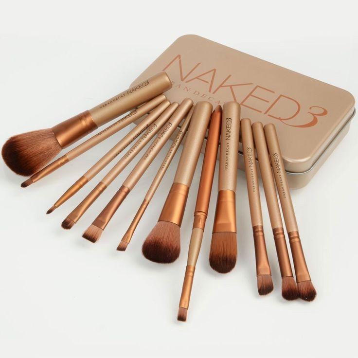 Urban Decay Naked 3 makeup cosmetic brush set 12 pcs travel size with metallic c...