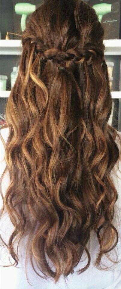 Balayage half up wavy hair with braid #gorgeoushair noahxnw.tumblr.co......