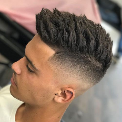 Fashionable Mens Haircuts High Skin Temple Fade With Textured