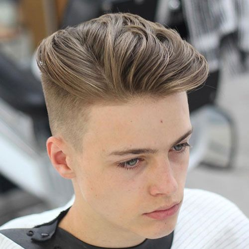 High Tapered Fade with Long Textured Slick Back...