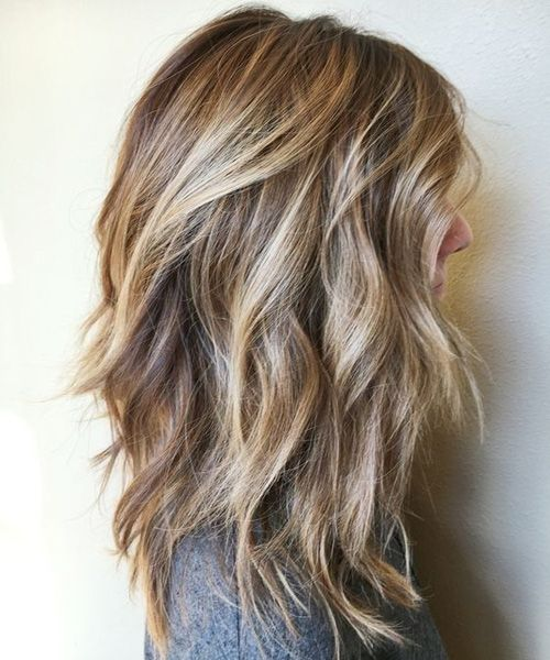 Pretty Brunette Highlights on Mid Length Hairstyles for Women...