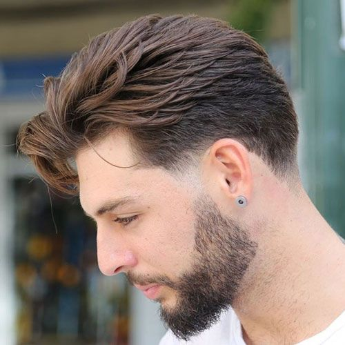 Fashionable Mens Haircuts Quiff With Short Sides And Thick Beard