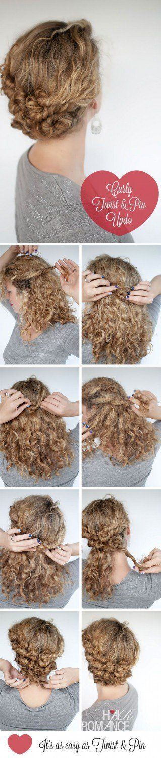 Curly Twist + Pin Updo | Naturally Curly Hair | Awesome Hairstyles For Holiday, ...