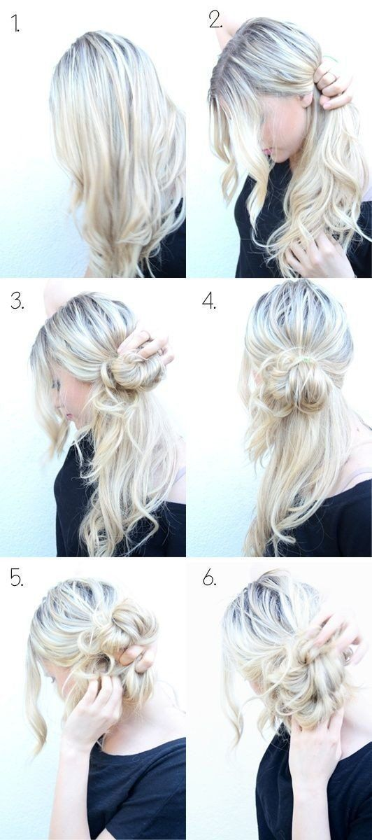 Messy Side Bun Updo   5 Messy Updos for Long Hair, check it out at makeuptutoria...