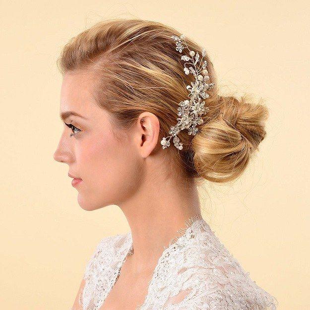 Remedios Cyrstal Flower Side Hair Comb Bridal Headpiece Wedding Accessory...