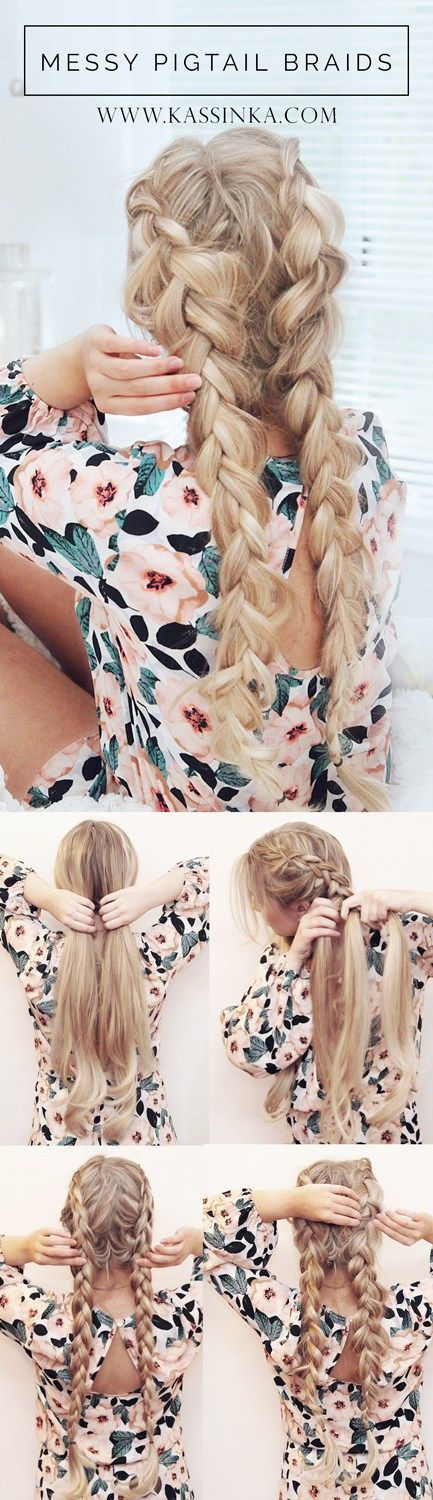Braids for long hair. Step by step tutorial. Hairdos ideas.