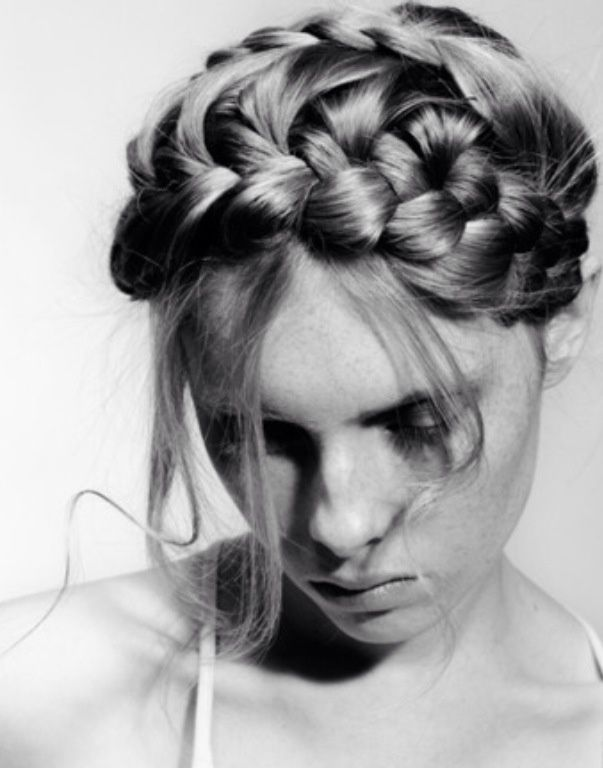 Crown braid. Romantic updo for a day event....