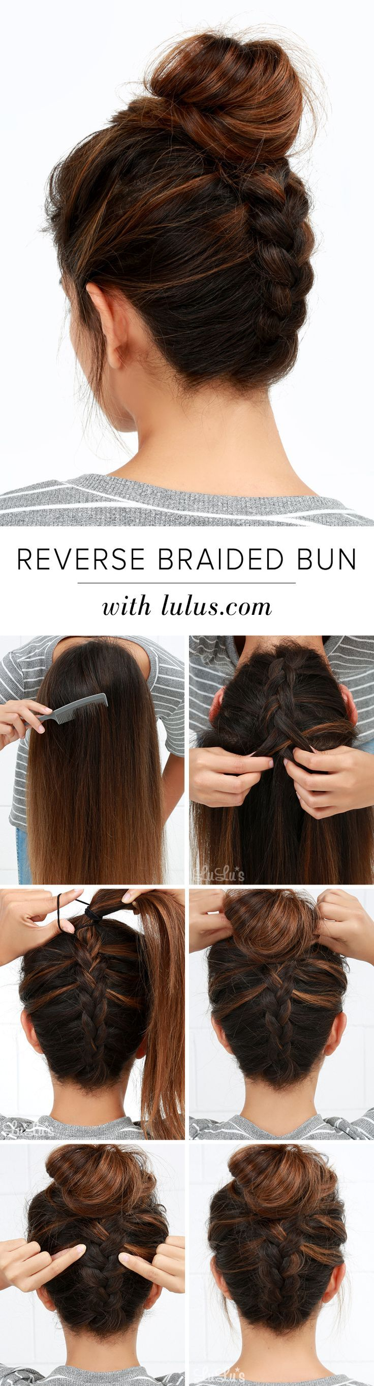 DIY Reverse Braided Bun Hair Tutorial. Photo tutorial step by step.
