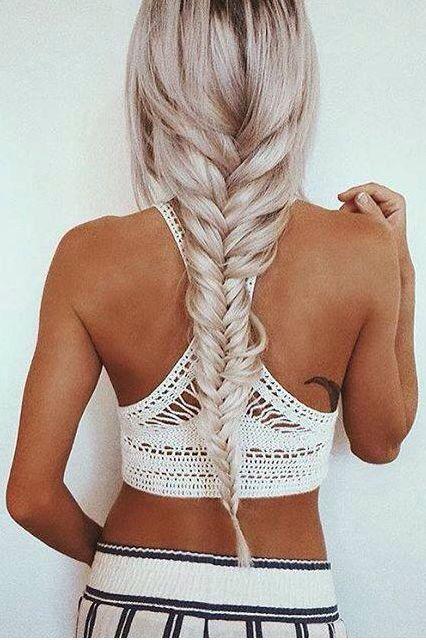 Fishtail long braid for Coachella....