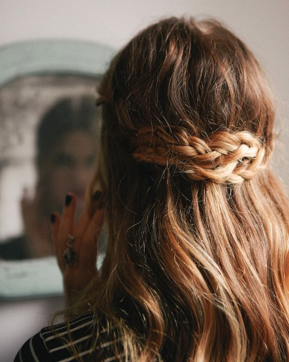 half-up braided crown. Long hair simple hairdo to copy now. Bohemian, hippie and...