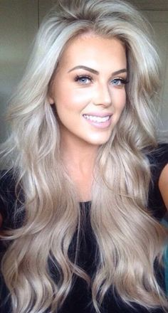 Ice blonde long hair with waves. Hair ideas....