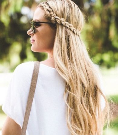 Long beachy waves are perfect w/ this no fuss braided hairstyle. Barefoot Blonde...
