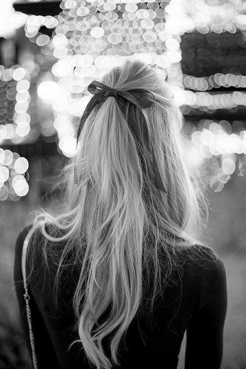Long hair hairdo with a bow....