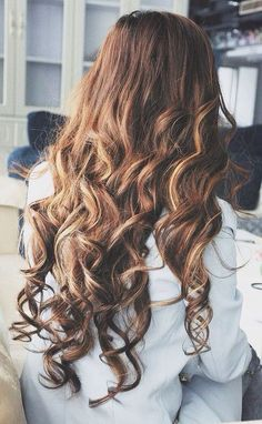 Long hair with curls.