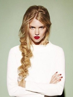 Mess up your fishtail. Fashionable hairdo....