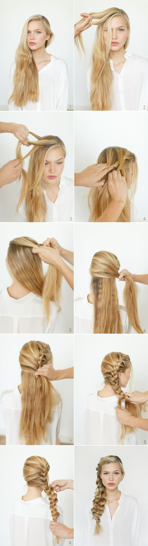 Romantic, messy braid. Hairdo for long and beautiful heiar. Step by step, this t...