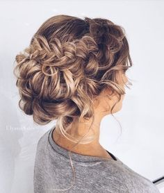 Long hair updo with braids.