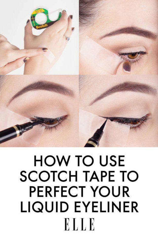4. Scotch Tape Trick for Liquid Liners | 17 Great Eyeliner Hacks for Makeup Junk...
