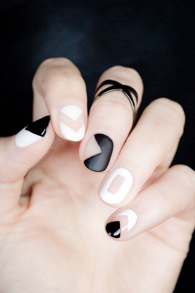Black and White Geometric Nail Designs | 9 Minimalist Nail Art Designs For Sprin...