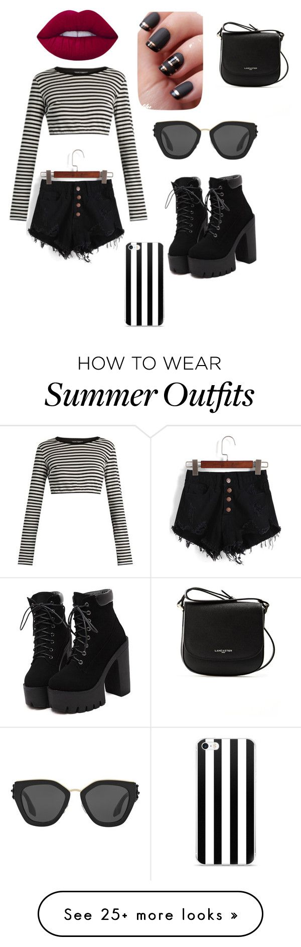 """Black and white summer outfit"" by a-sully-03 on Polyvore featuring Do..."