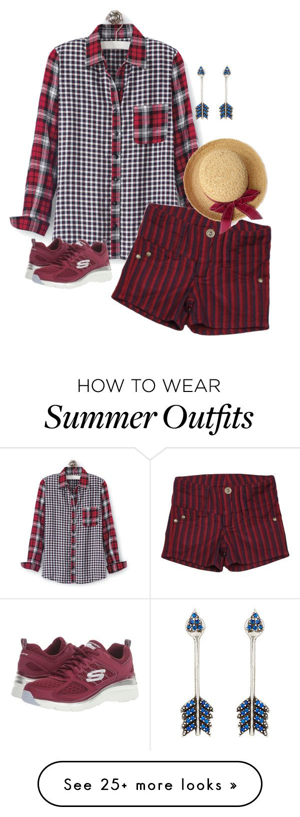 """""""Plaid and Checks"""" by nctillery on Polyvore featuring Skechers, Pamela..."""