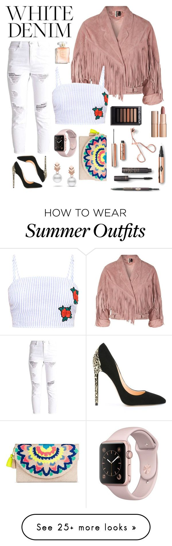"""white denim outfit"" by nidyati on Polyvore featuring Cerasella Milano..."